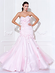 TS Couture Prom Formal Evening Military Ball Dress - Open Back Trumpet / Mermaid Sweetheart Spaghetti Straps Floor-length Organza Satin