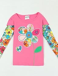 Girl's Exquisite Flowers Printed Pink Long Sleeve Antumn Winter Kids Tees Random Print
