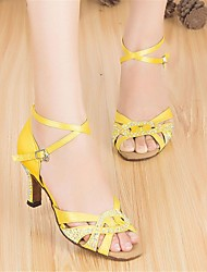 Customizable Women's Dance Shoes Latin Satin Customized Heel Yellow