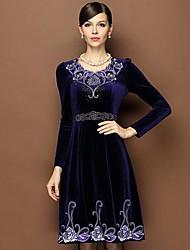 Women's Purple Bead Long Sleeve Velvet Dress