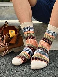 Мужские теплые жаккардовые шерстяные Ретро носки