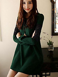 Women's  Lace Stitching  Slim Long Sleeve Dress