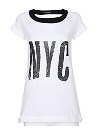 Frauen weiße kurze Hülse nyc loses T-Shirt