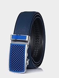 correia de couro genuíno cintos azul fivela automática cintos masculinos