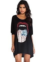 vestido boyfirend media camiseta de la manga del o-cuello de las mujeres