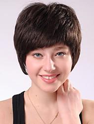 Capless Short Brownish Black  Curly  Human Hair Wigs