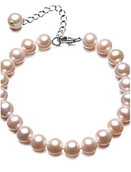 BRI.R® Fashion  7.5-8mm Natural Round Pure Pearl Bracelet - 6.8'' with 1.7'' Thail Chain S925 Silver Clasp