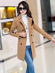 Women's Slim Collar Wool Coat Girls Long Coat