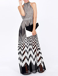 Haoduoyi Chiffon Transparent Stripes Dress