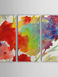 Hand Painted Oil Painting Abstract Rainbow Flower with Stretched Frame Set of 3 1308-AB0717