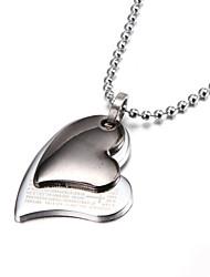zwei Schicht Silber Bibel Herz-Zink-Legierung Halskette