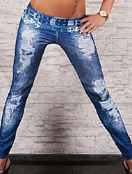 Women Denim Legging , Denim Medium