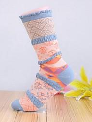 Moda pequenas meias florais das 5pairs mulheres (cor aleatória de colocação)