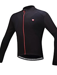 SANTIC Bike/Cycling Jersey Men's Long Sleeve Breathable / Thermal / Warm / Fleece Lining Polyester Solid Black S / M / L / XL / XXL / XXXL