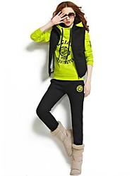 женская новая буква печати капот свитер костюм (балахон&жилет&брюки) (больше цветов)