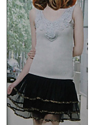 Hot Sale Leopard Embellished Lace Skirt Black