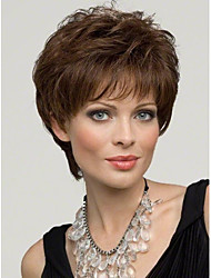 Capless Short Light Brown  Wavy  Human Hair Wigs