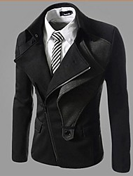 U&F Men's Zip Solid Color Lapel Neck Casual Jacket