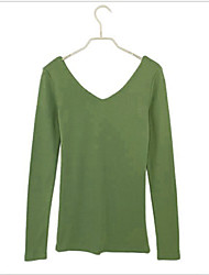Fashion Style Long Sleeve V Collar Tees Green