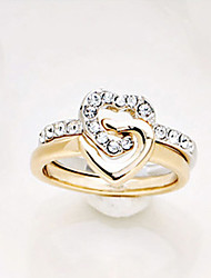 ZGTS  Women's Simple 18K Gold/Silver Plated Heart Rhinestone Ring
