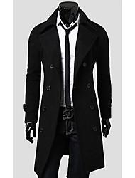 HD Men's Slim-Fitting Woolen Long Coat