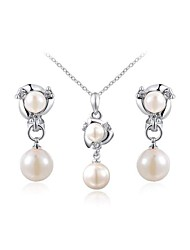 Lovely 18K Platinum Plated Austria Crystal Simulated White Pearl Waterdrop Pendant Necklace Clip Earrings Set