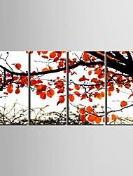 e-home® lona esticada arte outonal folhas vermelhas set pintura decorativa de 4
