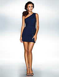 Dress Sheath/Column One Shoulder Short/Mini Chiffon/Sequined