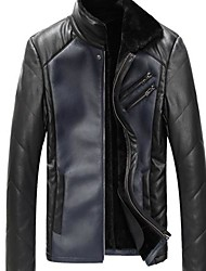 Men PU/Faux Leather Outerwear , Without Lining