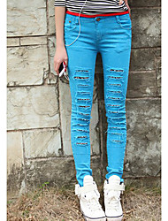 Fashion Style Abrade Elastic Slim Jean Wine Sky Blue