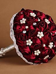 rose rouge soie bouquet de mariée