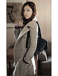 Dousiy Women's Solid Color Laple Neck Double Breast Tweed Coat