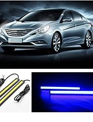 2pcs 14 centimetri 7w 600-700lm luce corrente di giorno di colore blu ad alta potenza pannocchia drl luce impermeabile IP68 (12v)