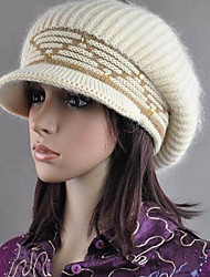 Newly Style Jewel Embellished Knitting Cap Beige