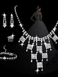 moda geométricas conjuntos das mulheres charme: colar brincos pulseira e anel (venda julgamento; ações: 1)