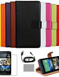 COCO FUN® Luxury Ultra Slim Solid Color Genuine Leather Case with Screen Protector,Cable and Stylus for HTC Desire 610