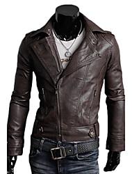 cuello solapa de la chaqueta moto cuero de imitación bodycon de los hombres ensueño