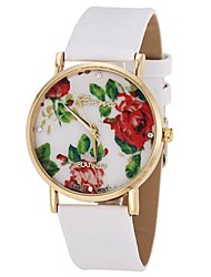ONITIME Women's Flower Pattern Pu Band Quartz Wrist Watch(White)