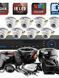yanse® 8ch d1 dvr kit ir kleuren dome camera beveiligingscamera's systeem cctv 701cc08