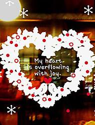 """Joyeux Noël floral fenêtre de coeur autocollant - 31,9 """"w × 31,9"""" l"""