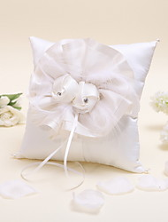 Elegant Flowered Ring Pillow with Beads