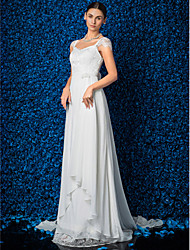 Lanting Sheath/Column Wedding Dress - Ivory Court Train V-neck Chiffon/Lace