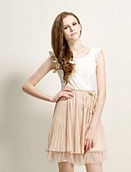 Mufans Women's Sleeveless Lace Dress 1415#