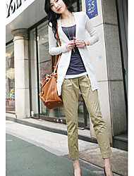 estilo elegante pantalón color puro de color caqui
