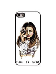 Personalized Phone Case - The Girl With Wine Glass Design Metal Case for iPhone 5/5S