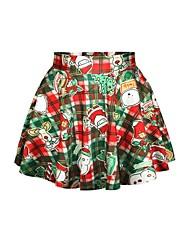 Navidad patrón spandex falda plisada de las mujeres pinkqueen®