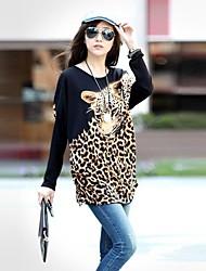 Women's Leopard White/Brown T-shirt , Round Neck Long Sleeve