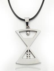 цинковый сплав песочные часы кулон черный кожаный ожерелье шнура мужская