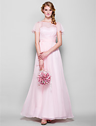 LAN TING BRIDE Floor-length Chiffon Bridesmaid Dress - Sheath / Column Bateau Plus Size / Petite with Sash / Ribbon