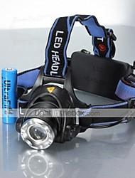 Luci Torce frontali / Luci bici LED 1200 Lumens 5 Modo Cree XM-L T6 18650Messa a fuoco regolabile / Impermeabili / Ricaricabile /